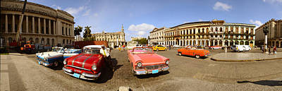 Havana Photograph - Old Cars On Street, Havana, Cuba by Panoramic Images
