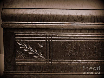 Warn In Photograph - Old Carved Wood Cabinet by JW Hanley