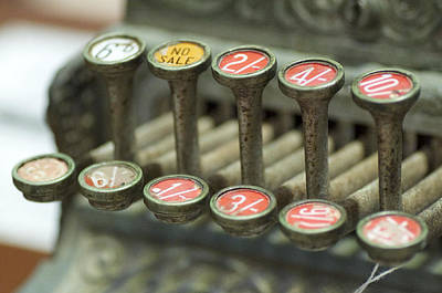 Photograph - Old Cash Register Keys - Shillings And Pence  by Sally Nevin