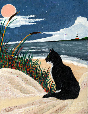 Painting - Old Cat And The Sea by Edward Fuller