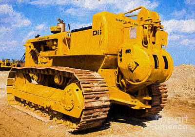 Photograph - Old Caterpillar Bulldozer - Painterly by Les Palenik