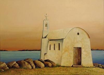 Old Chapel On Mykonos Art Print by Martin Schmidt