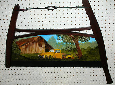 Saw Blades Painting - Old Chevy Pick Up by Darlene Prowell