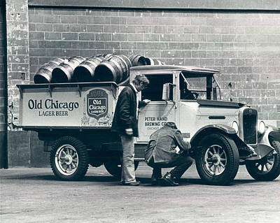 Beer Photograph - Old Chicago Beer Vintage Truck Delivery by Retro Images Archive