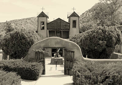 Chimayo Photograph - Old Chimayo Mission Monochrome by Gordon Beck