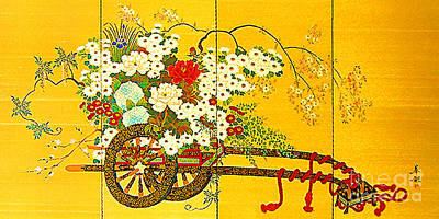 Photograph - Old Chinese Screen Painting   Flower Cart by Merton Allen