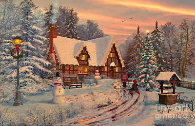 Chimney Digital Art - Old Christmas Cottage by Dominic Davison