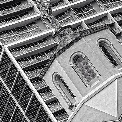 Skyscrapers Photograph - Old Church & New Skyscraper - Miami by Joel Lopez