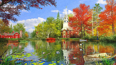 Old Church At Autumn Lake Art Print