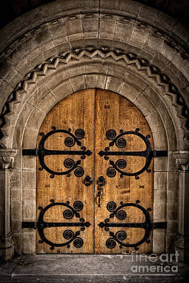 Old Church Door Print by Edward Fielding
