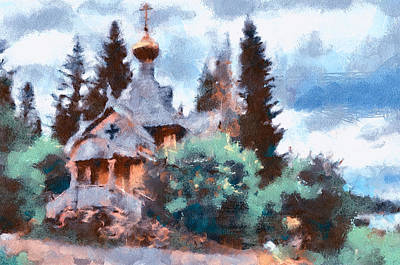 Old Church In Forest Art Print by Yury Malkov