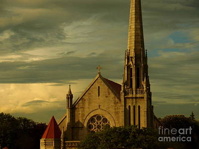 Photograph - Old Church With Dramatic Clouds And Sky At Sunset by Miriam Danar