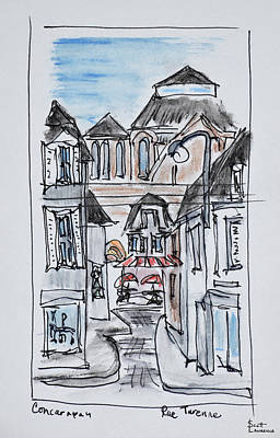 Pen And Ink Drawing Photograph - Old Church Of Concarneau Along Rue by Richard Lawrence