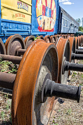 Photograph - Old Circus Train Wheels by Edward Fielding