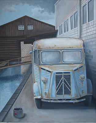 Rusty Truck Painting - Old Citroen Van by Stuart Swartz
