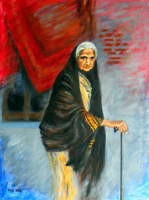 Old Woman With A Shawl Original