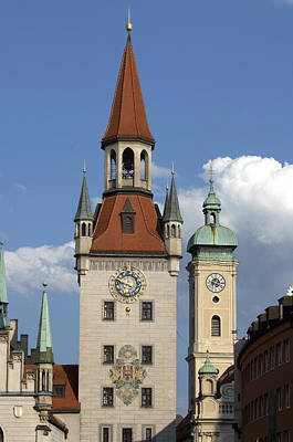 Marienplatz Photograph - Old City Hall, Marienplatz, Munich by Tips Images