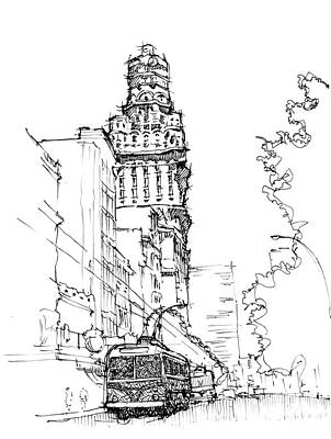 City Art Drawing - Old City Montevideo by Pablo Franchi