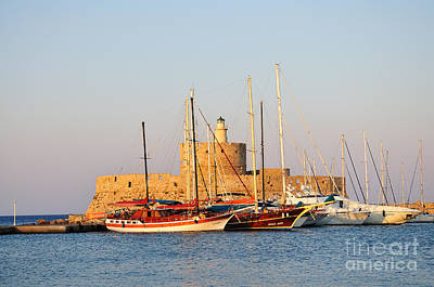 Photograph - Agios Nikolaos Lighthouse At The Old City Of Rhodes by George Atsametakis