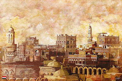 Sites Painting - Old City Of Sanaa by Catf