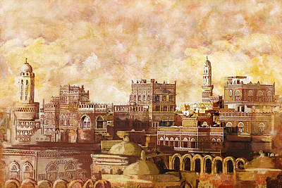 Historic Site Painting - Old City Of Sanaa by Corporate Art Task Force