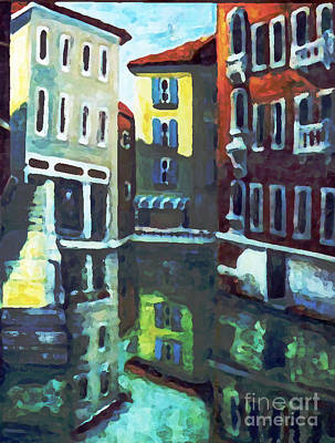 Art Print featuring the painting Old City Of Venice In Sunlight by Rita Brown