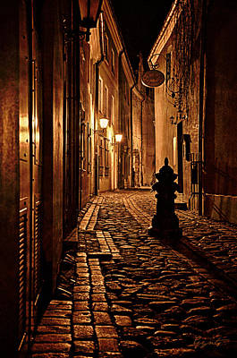 Old City Street In The Night Art Print by Gynt