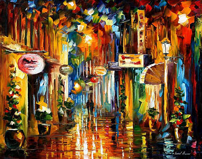Free Painting - Old City Street - Palette Knife Oil Painting On Canvas By Leonid Afremov by Leonid Afremov