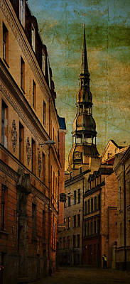 Stylized Photograph - Old City Street - Stylized To Old Image by Gynt