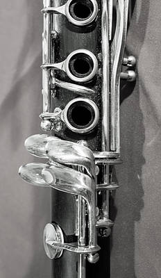 Marching Band Photograph - Old Clarinet Black And White Vertical by Photographic Arts And Design Studio