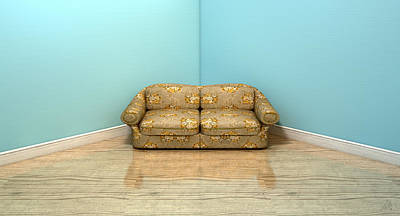 Old Classic Sofa In A Room Print by Allan Swart