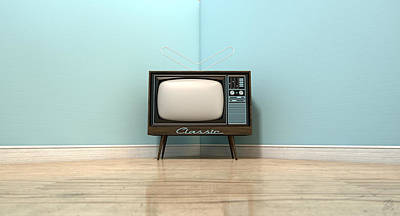 Aged Wood Digital Art - Old Classic Television In A Room by Allan Swart
