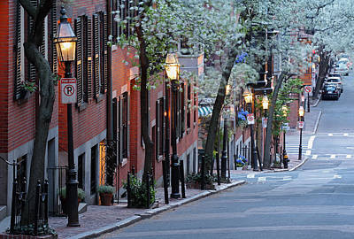 Brownstones Photograph - Old Colonial Brick Row Houses Of Beacon Hill by Juergen Roth