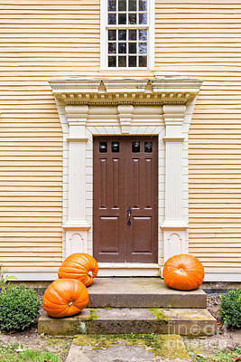 Old Colonial Era Front Door With Pumpkins Art Print by Edward Fielding
