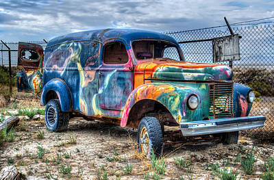 Old Colored Truck Art Print