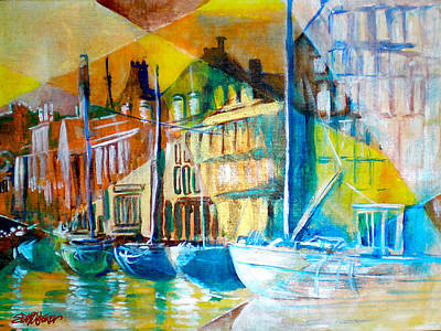 Art Print featuring the painting Old Copenhagen Thru Stained Glass by Seth Weaver