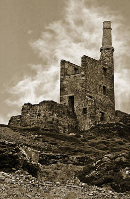 Photograph - Old Copper Mine West Cork Sepia by Jane McIlroy