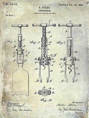 Cocktails Photograph - Corkscrew Patent by Jon Neidert