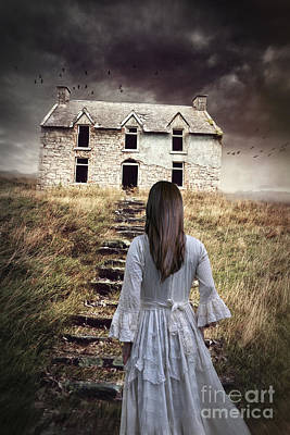 Photograph - Old Cottage With Woman Climbing  Grassy Stairs by Sandra Cunningham