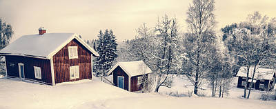 Art Print featuring the photograph Old Cottages In A Snowy Rural Landscape by Christian Lagereek