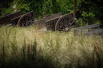 Art Print featuring the photograph Old Cotton Bale Wagons by Allen Biedrzycki