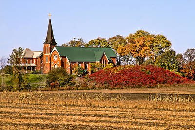 Photograph - Old Country Church In Autumn by Peggy Collins