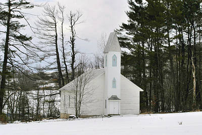 Photograph - Old Country Church In The Winter Woods  by Gene Walls