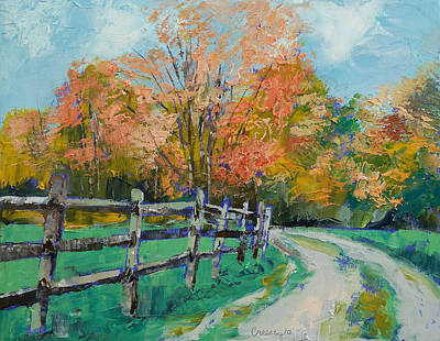 Old Country Roads Painting - Old Country Road by Michael Creese