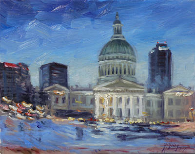 Evening Painting - Old Courthouse In Saint Louis - Winter Evening by Irek Szelag