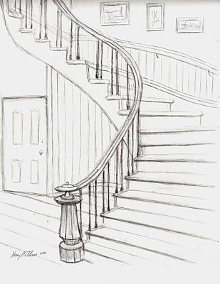 Concord Drawing - Old Courthouse Stairs Number Two by Stacy C Bottoms
