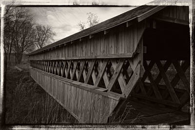 Photograph - Old Covered Bridge - Black And White by Ron Grafe