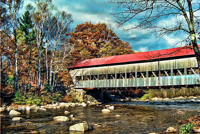 Old Covered Bridge Art Print by Kenny Francis