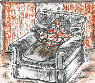 Art Print featuring the drawing Old Cozy Chair by Teresa White