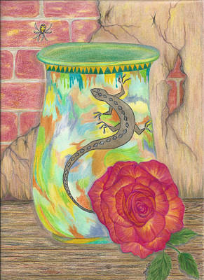 Old Crock And Rose Art Print